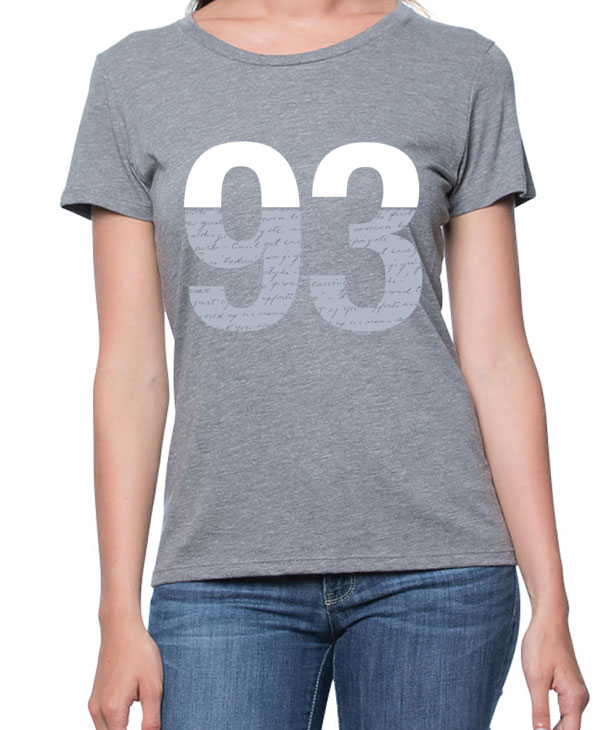 T-shirt with large 93 and handwriting design